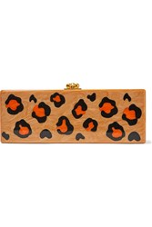 Edie Parker Flavia Leopard Print Glittered Acrylic Box Clutch Tan Orange