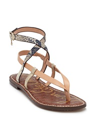 Sam Edelman Garrick Multi Color Leather Strappy Thong Sandals Natural
