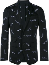 Dsquared2 Tailored Jacket With Skateboard Print Black