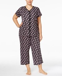 Charter Club Plus Size Loop Trimmed Top And Cropped Pants Printed Pajama Set Only At Macy's Mini Paisley
