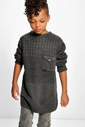 Boohoo Heavy Knit Pocket Detail Jumper Charcoal