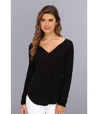 Lamade L S Open Henley Tee Black Women's Long Sleeve Pullover