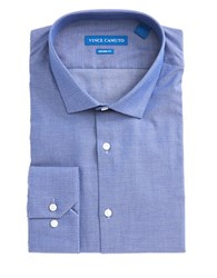 Vince Camuto Patterned Cotton Dress Shirt Blue