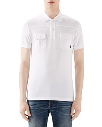 Gucci White Short Sleeve Pique Military Polo W Chest Pockets