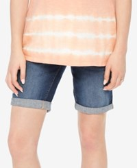 Motherhood Maternity Cuffed Denim Shorts Dark Wash