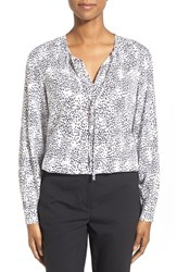 Women's Nordstrom Collection Print Silk Georgette Tie Neck Blouse