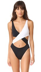 Solid And Striped Poppy Wrap One Piece Black White Colorblock