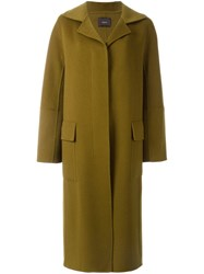 Odeeh Long Three Button Coat Green