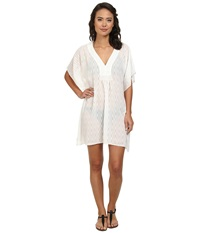 Echo Solid Smocked Butterfly Cover Up White Women's Swimwear