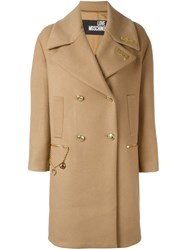 Love Moschino Hate Plaque Coat Nude And Neutrals