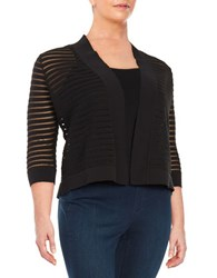 Nipon Boutique Plus Sheer Paneled Cropped Cardigan Black