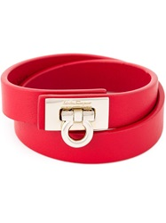 Salvatore Ferragamo Gancio Wrap Around Bracelet Red