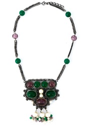 Christian Dior Vintage Beads Pendant Necklace Green
