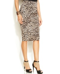 Thalia Sodi Leopard Print Pencil Skirt Leopard Brown