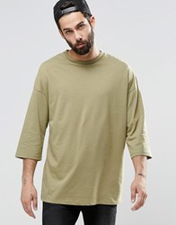 Asos Oversized 3 4 Sleeve T Shirt In Khaki Khaki Green