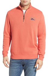 Men's Tommy Bahama 'Classic Aruba' Original Fit Half Zip Sweater Coral Reef