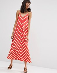 Asos Chevron Stripe Maxi Dress Red Print Multi