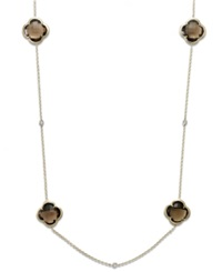 Macy's 14K Gold Necklace Smokey Topaz 48 Ct. T.W. And Diamond 1 6 Ct. T.W. Necklace Brown