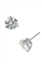 Nordstrom Boxed Round 8Ct Tw Cubic Zirconia Earrings Sterling Platinum