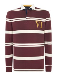 Howick Tilston Stripe Long Sleeve Rugby Top Aubergine
