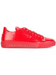 Philipp Plein Logo Stamped Sneakers Red