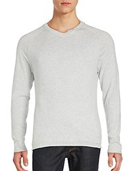Saks Fifth Avenue Red Solid V Neck Pullover Grey