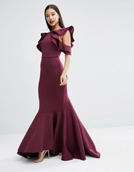 Asos Red Carpet Scuba Ruffle Extreme Fishtail Maxi Dress Plum Purple