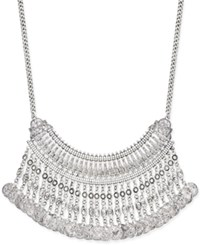 Macy's Silver Tone Crystal And Coin Fringe Bib Necklace