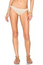 Anna Kosturova Seashore Lace Up Bikini Bottom Taupe