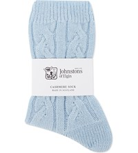 Johnstons Cable Knit Cashmere Bed Socks Skye