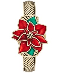 Charter Club Women's Gold Tone Poinsettia Cuff Bracelet Watch 35Mm Only At Macy's