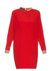 N 21 Embellished Collar Crepe Dress Red