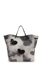 Marc Jacobs Byot Printed Denim Fat Cat Shopper Tote Grey Multi