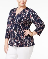 Charter Club Plus Size Floral Print Faux Wrap Top Only At Macy's Deepest Navy Combo