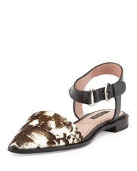 Rachel Zoe Iris Calfhair And Leather Sandal Bone Print