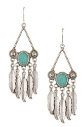 Stephan And Co Feather Fringe And Stone Earrings Blue