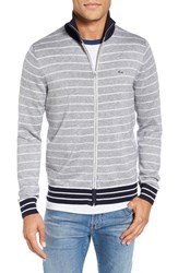 Lacoste Men's Stripe Zip Sweater Silver Chine Navy Blue White