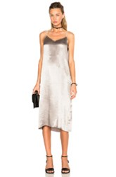 Atm Anthony Thomas Melillo Deep V Slip Dress In Metallics