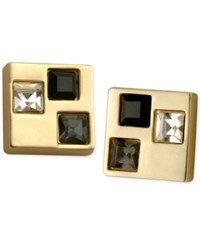 T Tahari Gold Tone Multi Crystal Square Stud Earrings