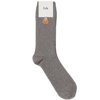 Folk Waffle Sock Light Grey