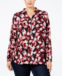 Ny Collection Plus Size Printed Grommet Trim Shirt Red Jumble