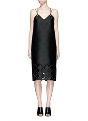 Pringle Diamond Fil Coupe Leather Cord Eyelet Dress Black