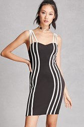 Forever 21 Piped Bodycon Cami Dress Black White