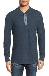 Grayers Men's 'Byron' Double Knit Henley Navy Heather Seafoam