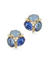 Forzieri Blue Crystal Clip On Earrings