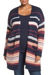 Caslonr Plus Size Women's Caslon Stripe Open Front Cardigan Navy Purple Stripe