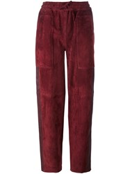 Joseph Relaxed Fit Straight Trousers Red