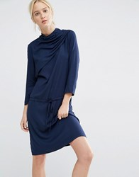 Gestuz Matoma Dress With Drape Neck Navy