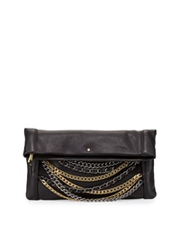 Ash Domino Chain Fold Over Leather Clutch Bag Black Silver Gold