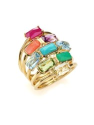 Ippolita Rock Candy Summer Rainbow Semi Precious Multi Stone And 18K Yellow Gold Cascade Ring